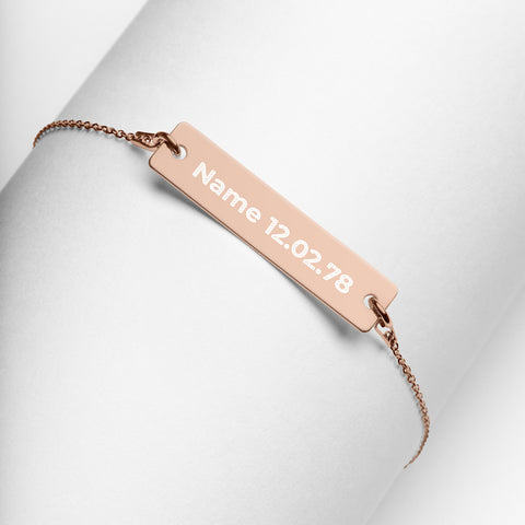 Personalised Name Birthday Engraved Bar Chain Bracelet - AnnaJewelBox