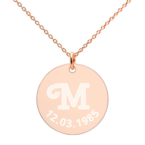 Image of Personalised Engraved Initial Date Disc Necklace - AnnaJewelBox