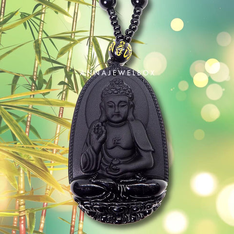 Carved Black Obsidian Protection Buddha Necklace - AnnaJewelBox