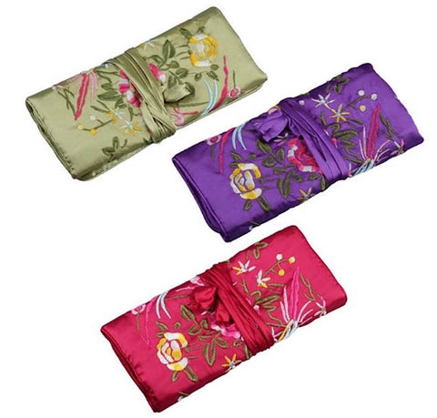 Oriental Silk Foldable Travel Jewellery Accessory Organiser Roll Pouch - AnnaJewelBox