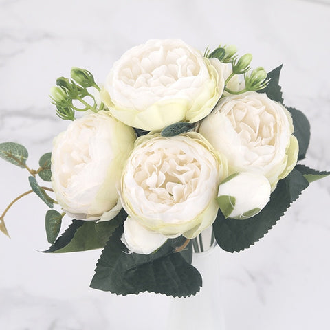 Image of Silk Peony Artificial Flowers Bouquet - AnnaJewelBox