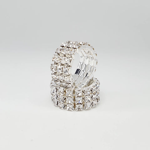 Image of Sparkling Diamante Crystals Elastic Rings 1-2-3 Rows