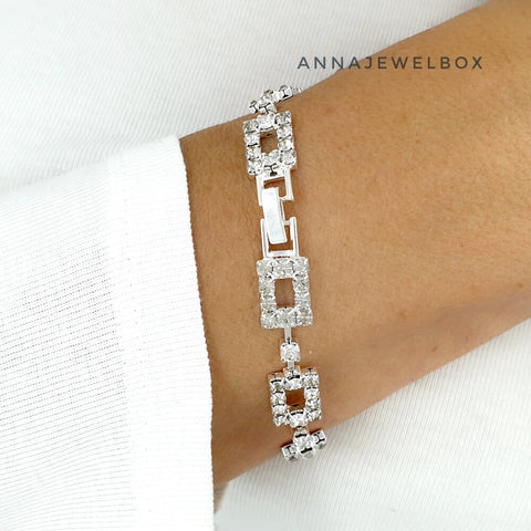 Image of Statement White Diamante Crystals Sparkling Bracelet - AnnaJewelBox