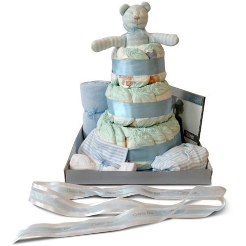 Deluxe Three Tier Boy Nappy Cake