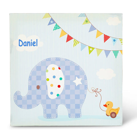 Happy Elephant Boy Canvas Art