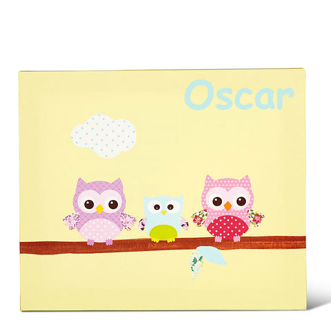 Three Owls Yellow Personalised Canvas Art