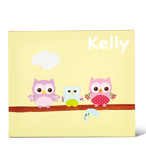 Pink & Yellow Owl Personalised Baby Canvas Art Gifts