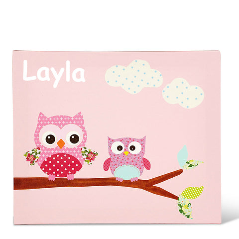 Two Owls Pink Personalised Canvas Art