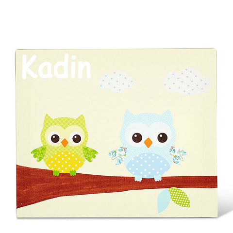 Two Owls Lime Personalised Canvas Art
