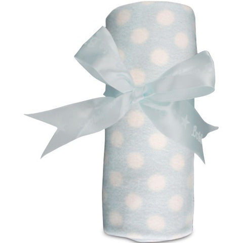 Polka Dot Brushed Cotton Cot Blanket - Blue