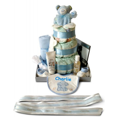 Super Luxury Three Tier Boy Nappy Cake