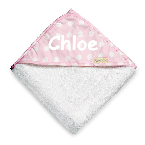 Personalised Polka Dots Hooded Towel - Pink