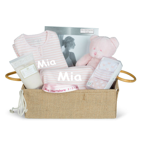 New Girl Hessian Baby Basket (With Surprise for Mum!)