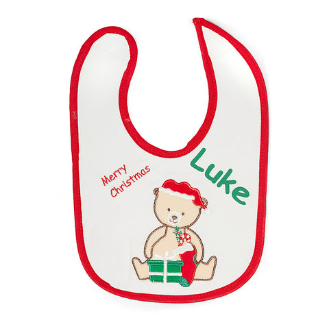 Christmas Bear Bib and Hat Set