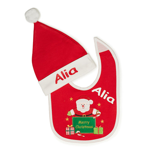 Santa Bib and Hat Set
