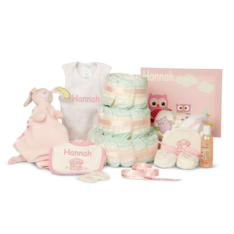Thinking of you...Personalised Girl Nappy Cake