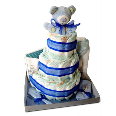Three Tier Bathtime Boy Nappy Cake - Navy