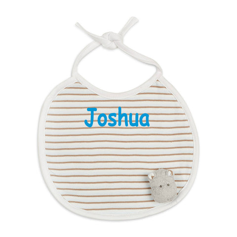 Personalised Boy Happy Hippo Bib