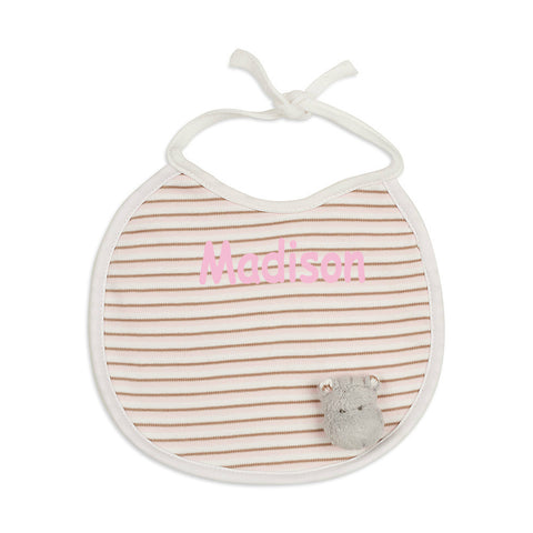 Personalised Girl Happy Hippo Bib