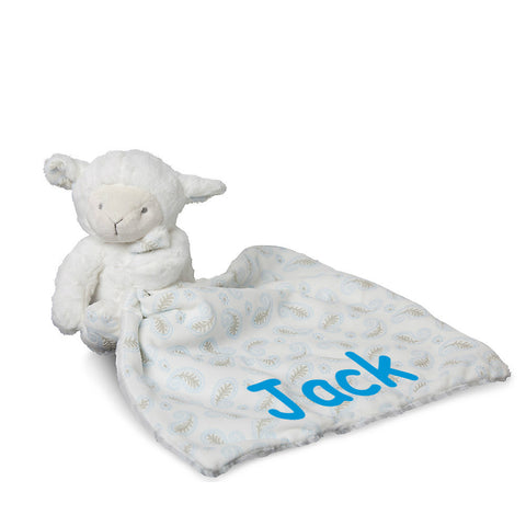 Lamb with blue comforter