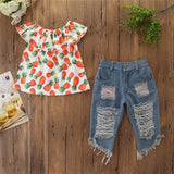 2 PCs Off Shoulder Shorts Set