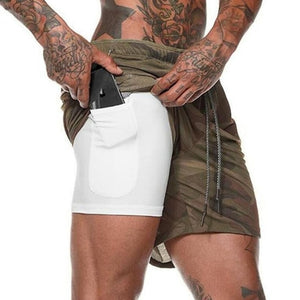 Men 2 in 1 Camouflage Running Shorts
