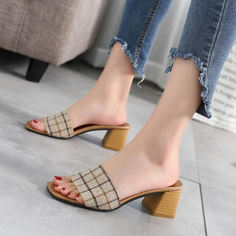 Women Beach Shoes Stripe Lattice Slippers Fashion