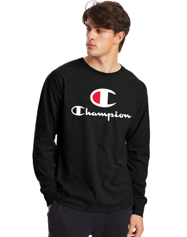 Champion Men's Athletics Classic Jersey Long-Sleeve Tee, C + Script Logo Black L