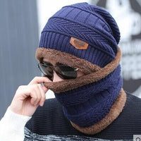 2pcs Ski Cap and Scarf Knitted