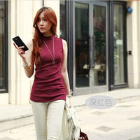 Women Sleeveless Solid Color Top