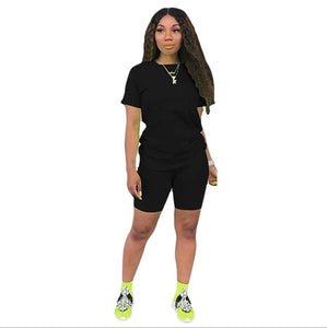 Solid 2 PC Short Sleeve Tee with above Knee Shorts