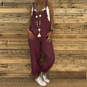 Women Casual Solid Strappy Dungarees Harem Overalls Rompers Jumpsuits