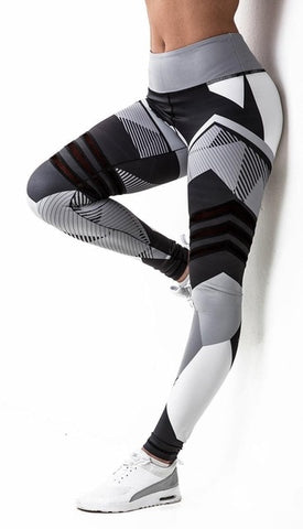 Leggings High Elastic Print Fitness