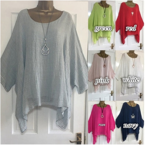 Solid Batwing Sleeve Summer Blouses Tunic Casual O-Neck