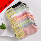 10 pairs /Lot Ankle Socks Cotton Solid Casual Students Girls Boat Sock
