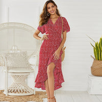 Maxi Floral Print Boho Long Chiffon Dress Ruffles Wrap Casual V-Neck Split