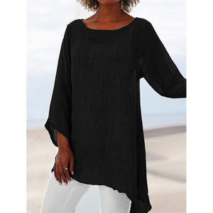 Cotton Soft Solid Blouse O-Neck Long Sleeve