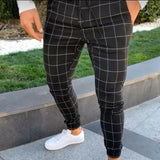 Men's Slim Fit Plaid Straight Leg Pants