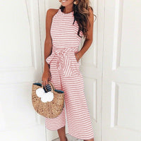 Women Striped Printed Lace-up Pocket O-neck Sleeveless Long Wide Leg Overalls