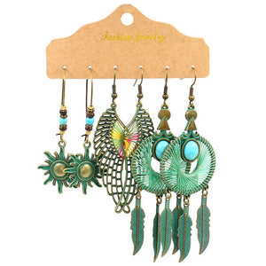 Vintage Multicolor Beaded Earrings Set Ethnic Boho Tassel Feather Long Dreamcatcher Drop
