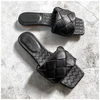 Slippers Weave Leather Open Toe
