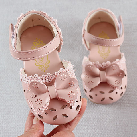 Kids Shoes Fashion Leathers Sweet Children Sandals For Girls Toddler Baby Breathable Hoolow Out Bow Shoes