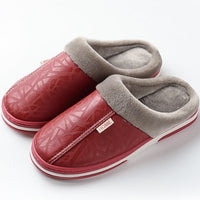 Men Slippers Indoor Leather Winter Waterproof Warm Home Fur Slipper Couple Platform Shoes Fluffy Big Sizes