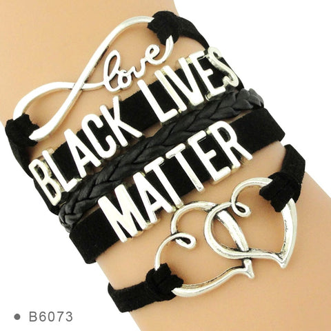 Black Lives Matter Heart Charms Wrap Multilayer Leather