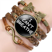 The Black All Black Lives Matter I Can't Breathe More Heart Leather Bracelet
