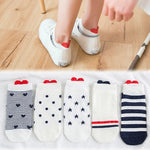 5 Pairs/Pack Embroidered Expression Sheep Ankle