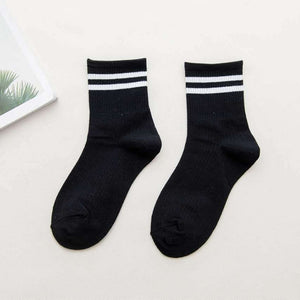 Cotton Loose Striped Crew Socks