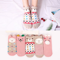 5 Pairs Lot Cotton Socks Casual Boat 3D Pack Cartoon