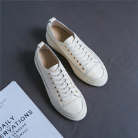 Platform Women Natural Genuine Leather Flat Casual Shoes White