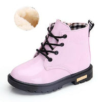New Children Shoes Boots for Children Size 21-37 Martin Boots for Girl PU Leather Waterproof Winter Kids Snow Shoes Girls Boots